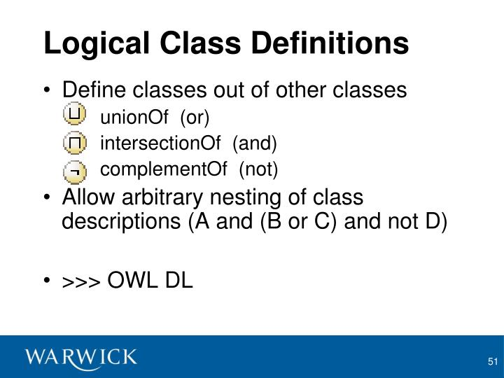 Logical Class Definitions