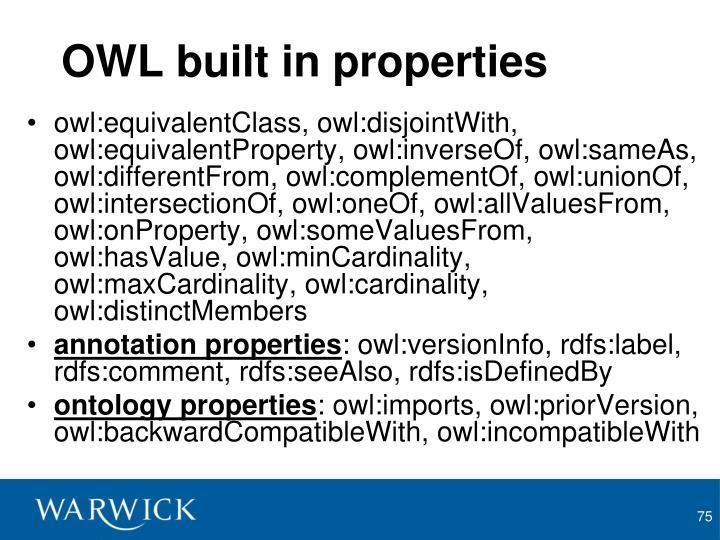 OWL built in properties