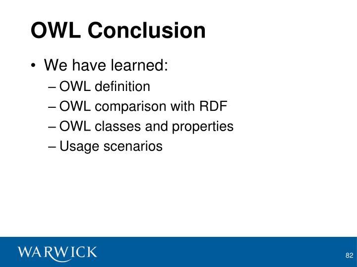 OWL Conclusion