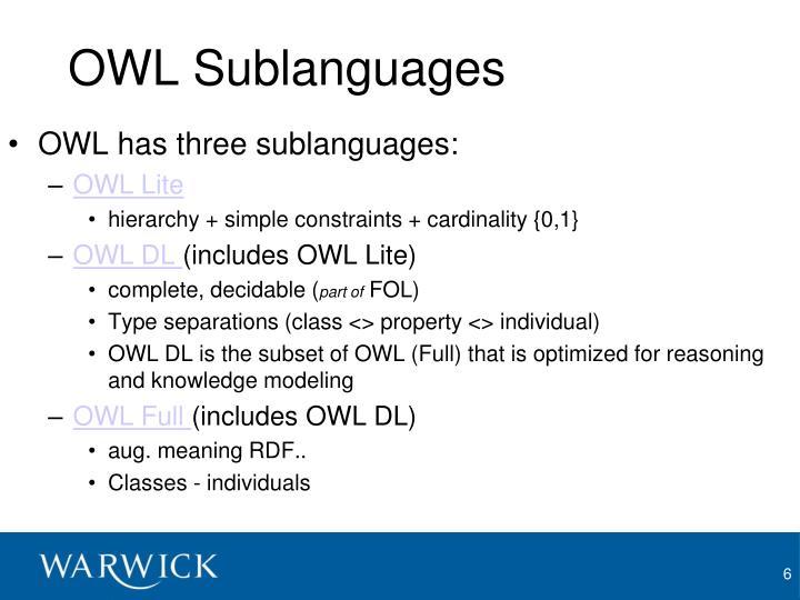 OWL Sublanguages