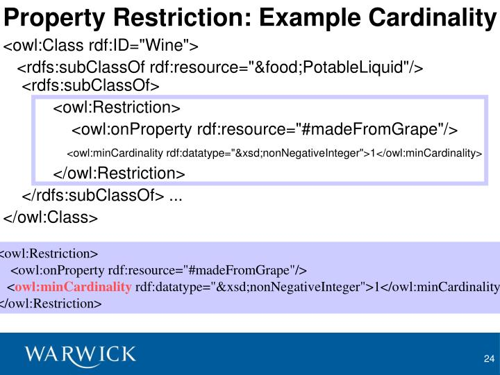 Property Restriction: Example Cardinality