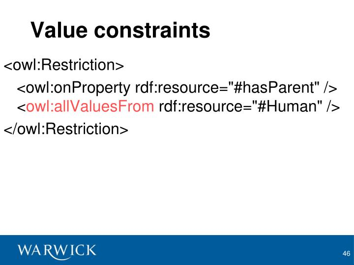 Value constraints