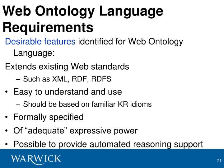 Web Ontology Language Requirements