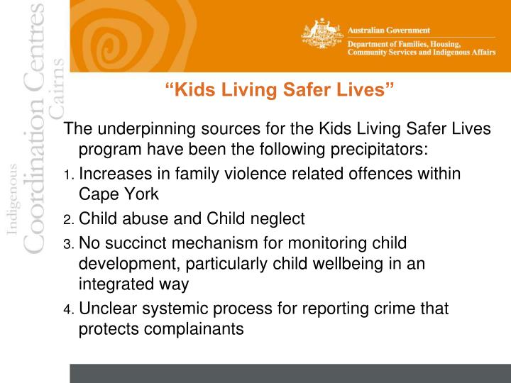 """Kids Living Safer Lives"""