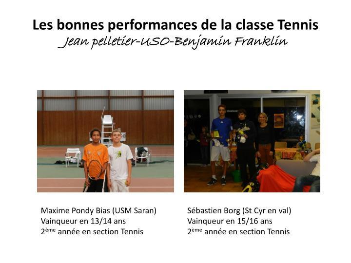 Les bonnes performances de la classe Tennis