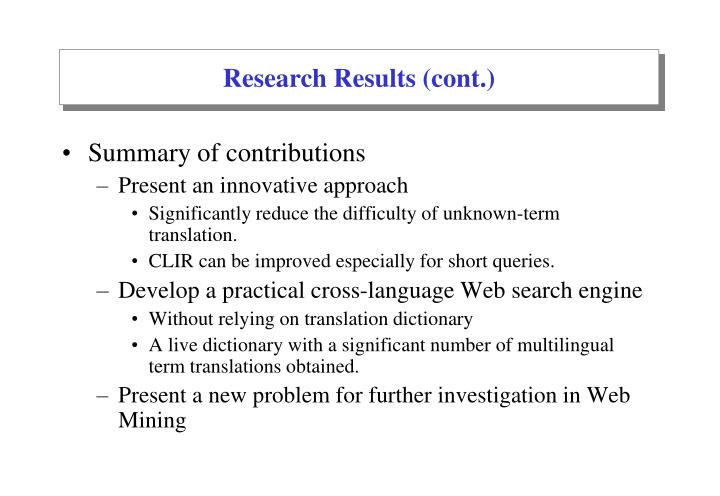 Research Results (cont.)