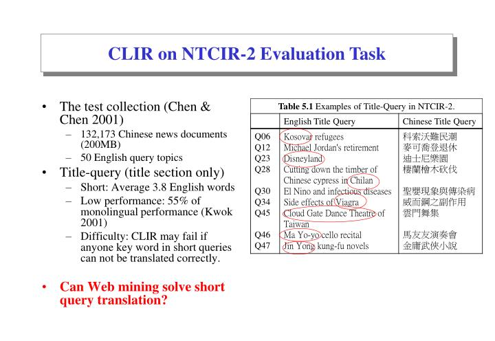 CLIR on NTCIR-2 Evaluation Task