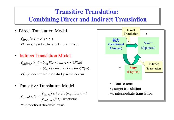 Transitive Translation: