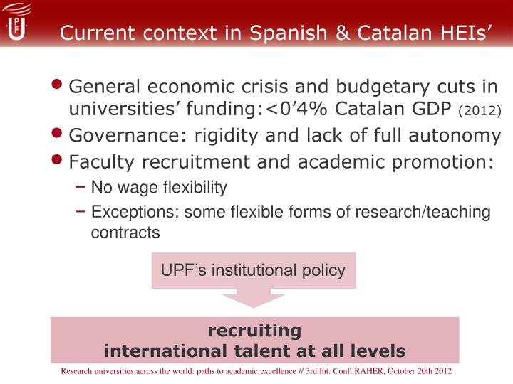 Current context in Spanish & Catalan HEIs'