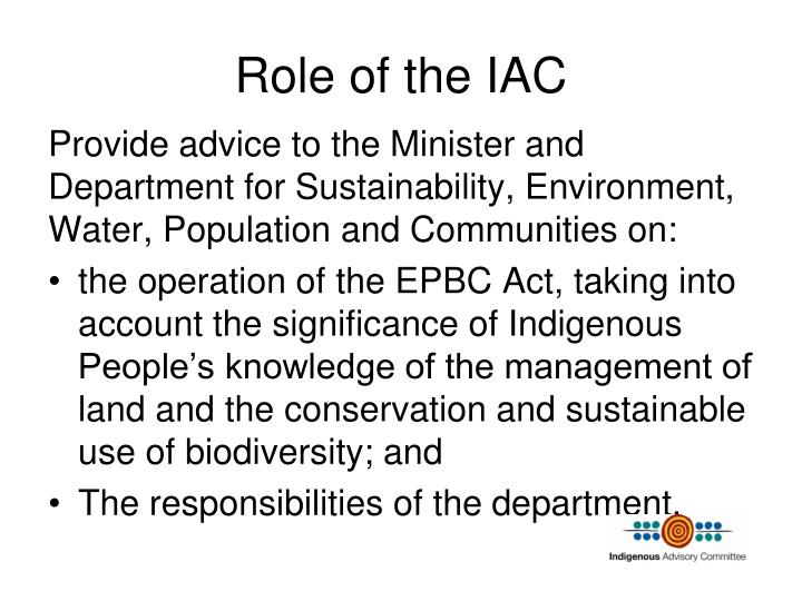 Role of the iac