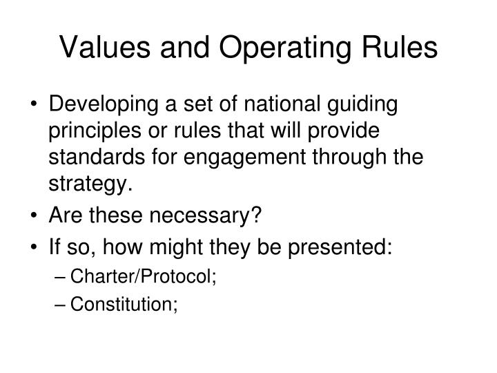 Values and Operating Rules