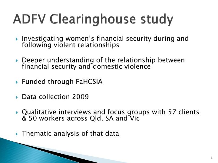 ADFV Clearinghouse study