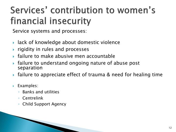 Services' contribution to women's financial insecurity