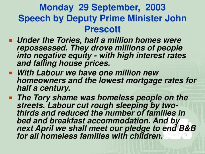 Monday  29 September,  2003