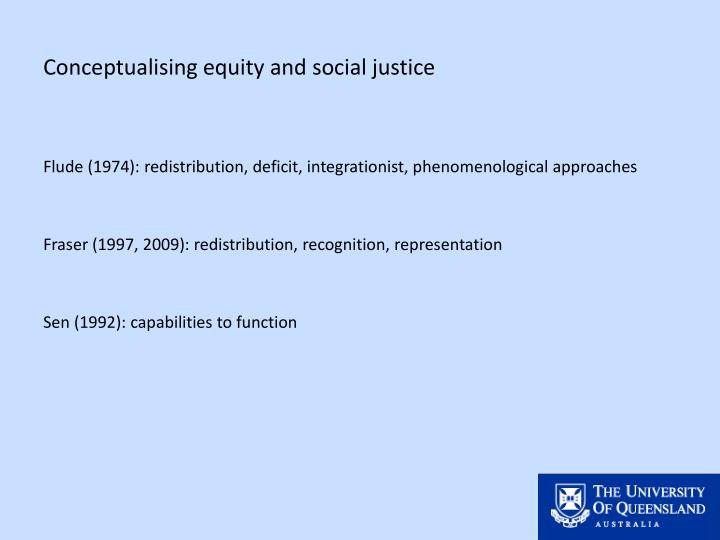 Conceptualising equity and social justice