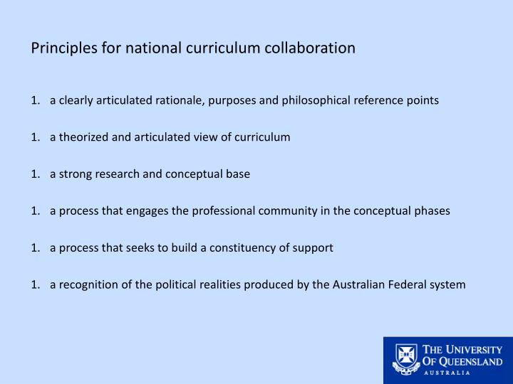 Principles for national curriculum collaboration