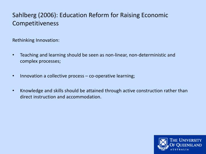 Sahlberg (2006): Education Reform for Raising Economic Competitiveness