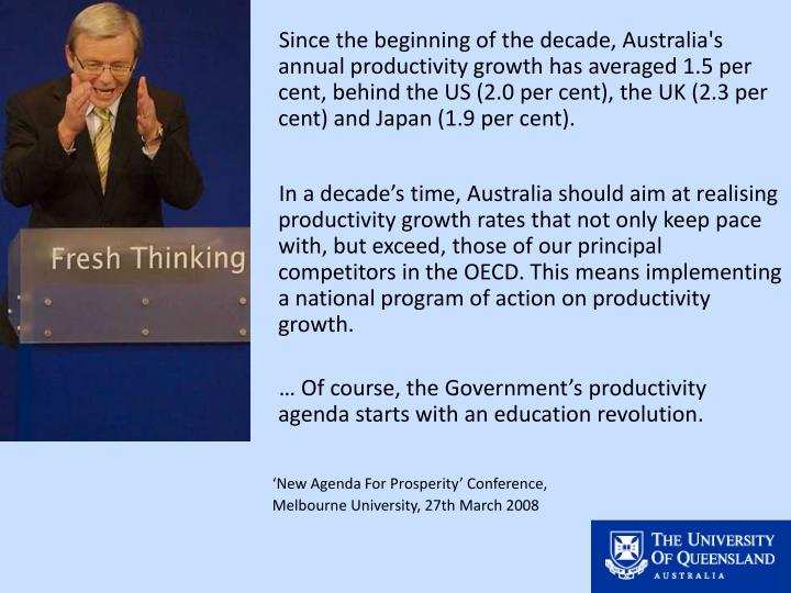 Since the beginning of the decade, Australia's annual productivity growth has averaged 1.5 per cent, behind the US (2.0 per cent), the UK (2.3 per cent) and Japan (1.9 per cent).
