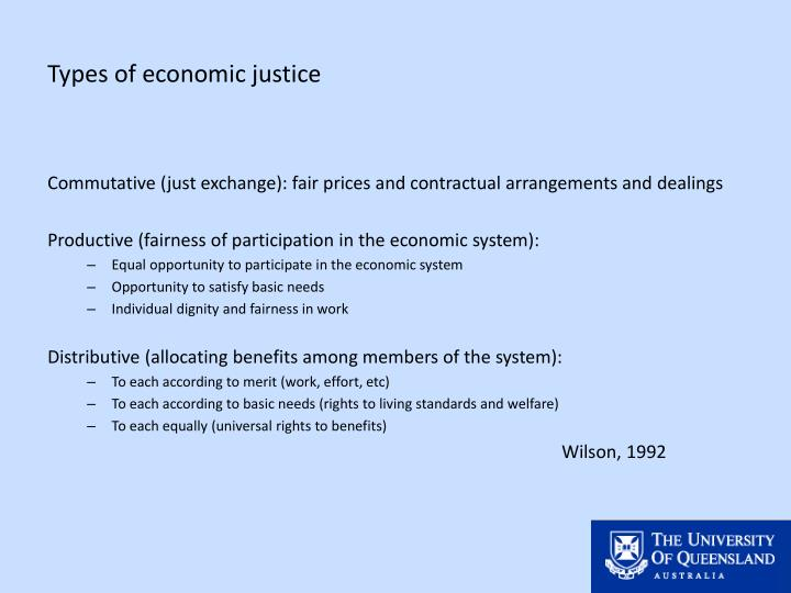 Types of economic justice