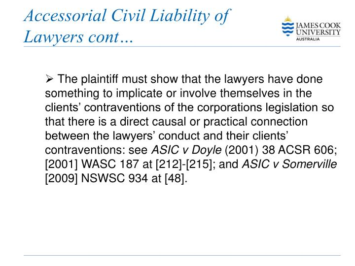 Accessorial Civil Liability of Lawyers cont…