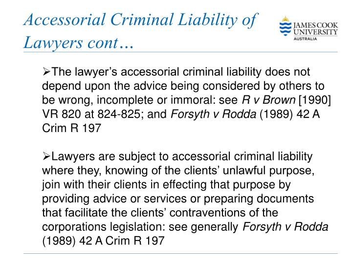 Accessorial Criminal Liability of Lawyers cont