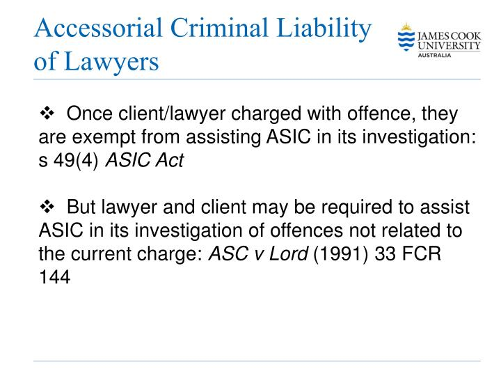 Accessorial Criminal Liability of Lawyers