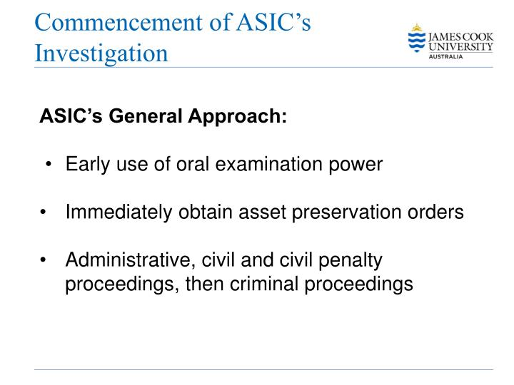 Commencement of ASIC's Investigation