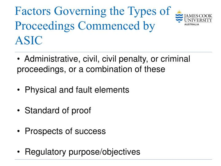 Factors Governing the Types of Proceedings Commenced by ASIC