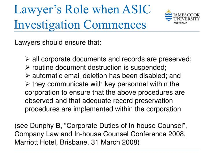 Lawyer's Role when ASIC Investigation Commences