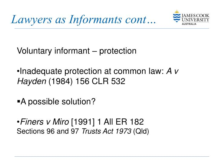 Lawyers as Informants cont…