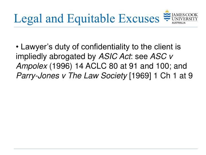 Legal and Equitable Excuses