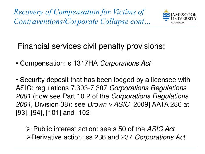 Recovery of Compensation for Victims of Contraventions/Corporate Collapse cont…