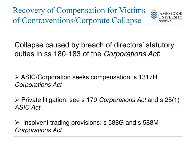 Recovery of Compensation for Victims of Contraventions/Corporate Collapse