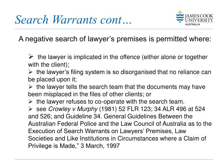 Search Warrants cont…