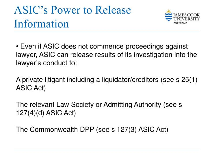 ASIC's Power to Release Information