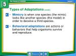 types of adaptations cont