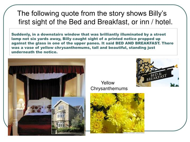 Suddenly, in a downstairs window that was brilliantly illuminated by a street lamp not six yards away, Billy caught sight of a printed notice propped up against the glass in one of the upper panes. It said BED AND BREAKFAST. There was a vase of yellow chrysanthemums, tall and beautiful, standing just underneath the notice.