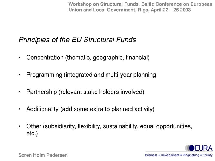 Principles of the EU Structural Funds