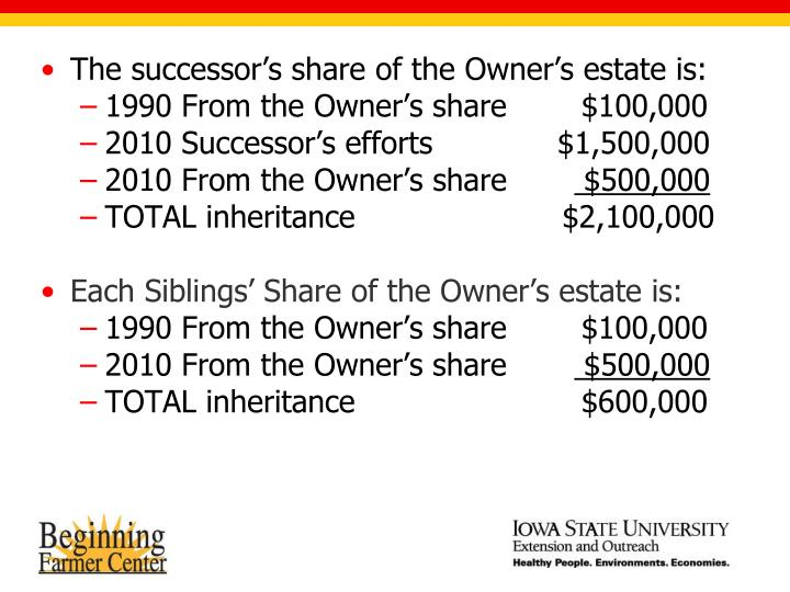 The successor's share of the Owner's estate is: