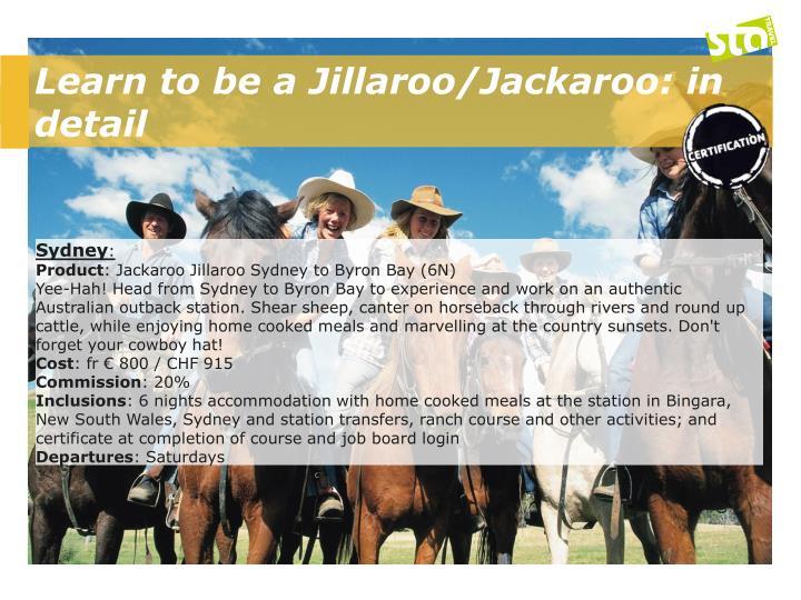 Learn to be a Jillaroo/Jackaroo: in detail