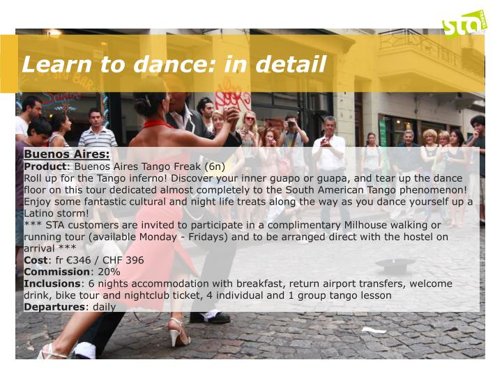 Learn to dance: in detail