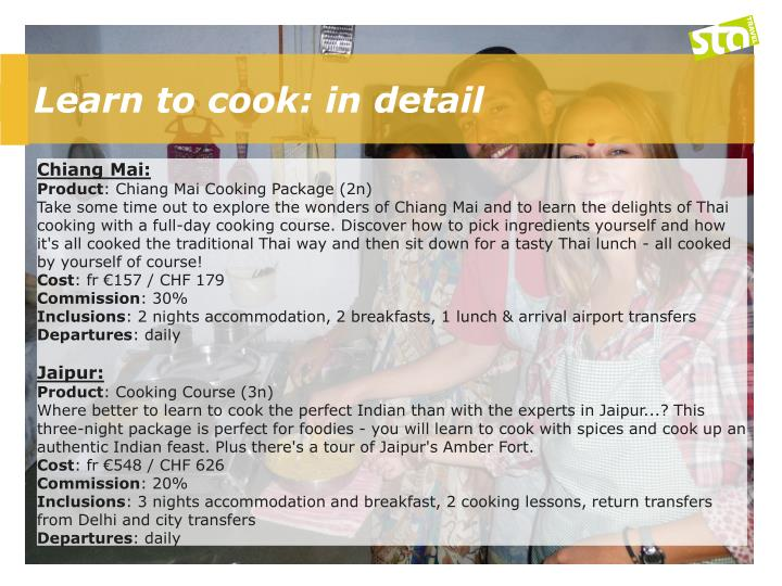 Learn to cook: in detail