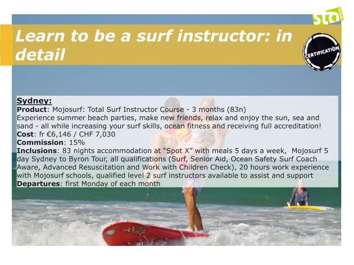 Learn to be a surf instructor: in detail