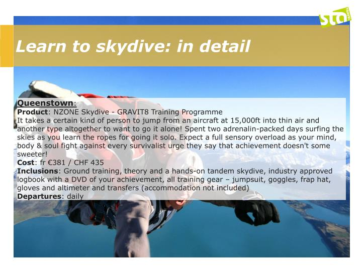 Learn to skydive: in detail