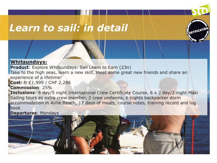 Learn to sail: in detail