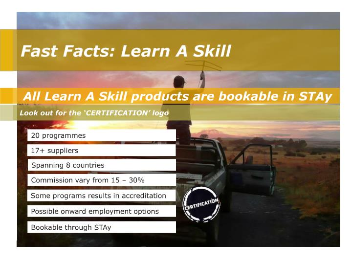 All Learn A Skill products are bookable in