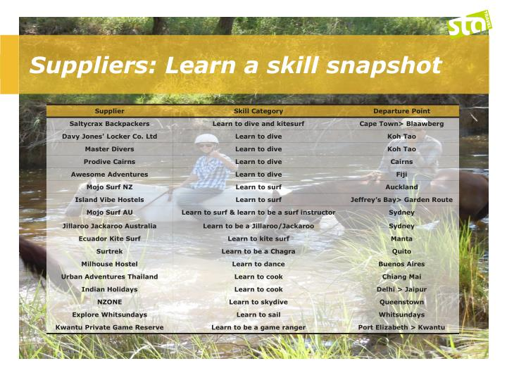 Suppliers: Learn a skill snapshot