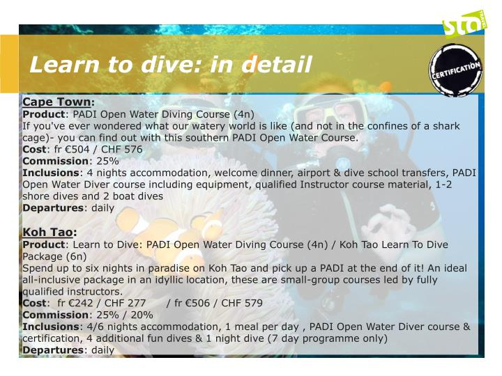 Learn to dive: in detail