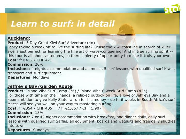 Learn to surf: in detail