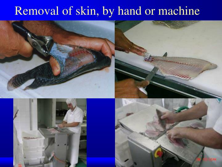 Removal of skin, by hand or machine